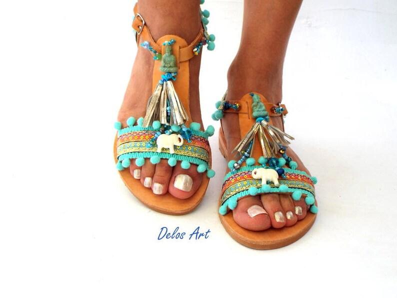 boho Sandals Blue leather Sandals \\Gaia\\ Ancient Greek Sandals Pom Pom sandals Sandals hippie leather shoes barefoot Summer shoes