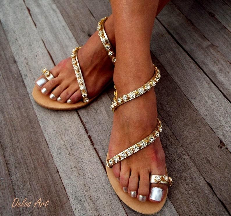 af2623a3e781 Crystal golden flower Bridal sandals Leather sandals White