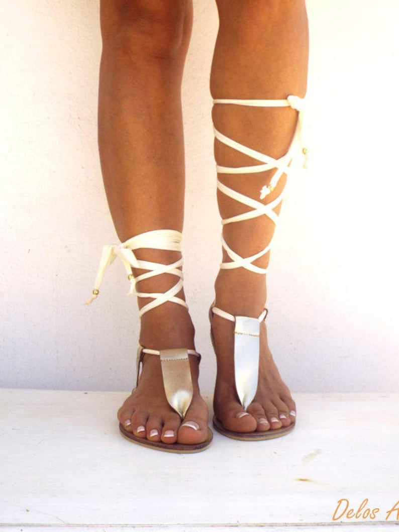 27835461c8cd2c Gold Gladiator Leather Sandals Ivory lace up Sandals Greek