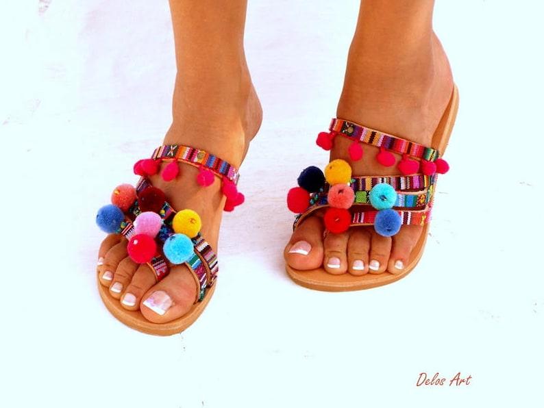 5735e32131e3a Goa LEATHER Sandals Pom Pom sandals Colorful Sandals boho