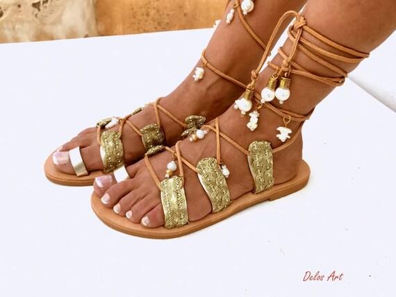 Goldene Braut Flache Sandalen Leder Sandalen Strand Hochzeit Sandalen Mutter Der Perle Sandalen Griechische Sandalen Mit Liebe Gemacht