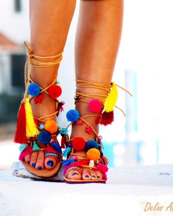 Pom Pom Sandals Greek Sandals beaded sandals Gladiator sandals bohoMade with love \\Armonia\\ Colorful Sandals Leather Sandals