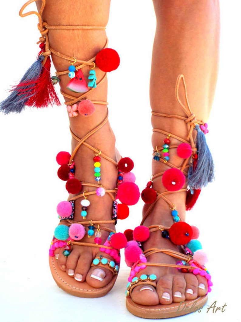 94a01cc1598 POM POM Sandals Pom Pom Leather Sandals Gladiator sandals