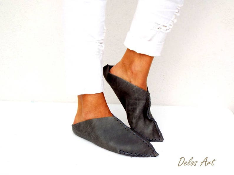 one piece nature leather slip on shoes Leather slippers Gray handmade leather Moroccan shoes new Delos Art design slippers