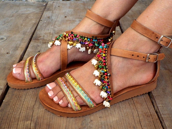 a1917d3d7bae1 Leather Boho Sandals Shiva Greek Sandals