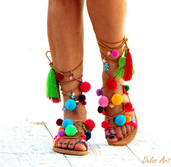 62fae99d77c5 Pom Pom Sandals Leather Sandals Gladiator sandals Greek