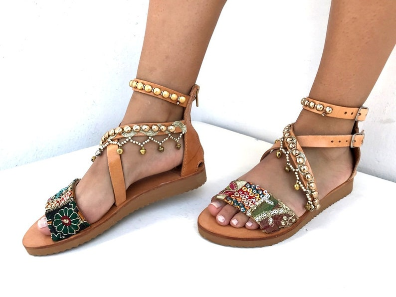 e49fcd879ba00 Leather Boho Sandals antique trim Greek Sandals Handmade