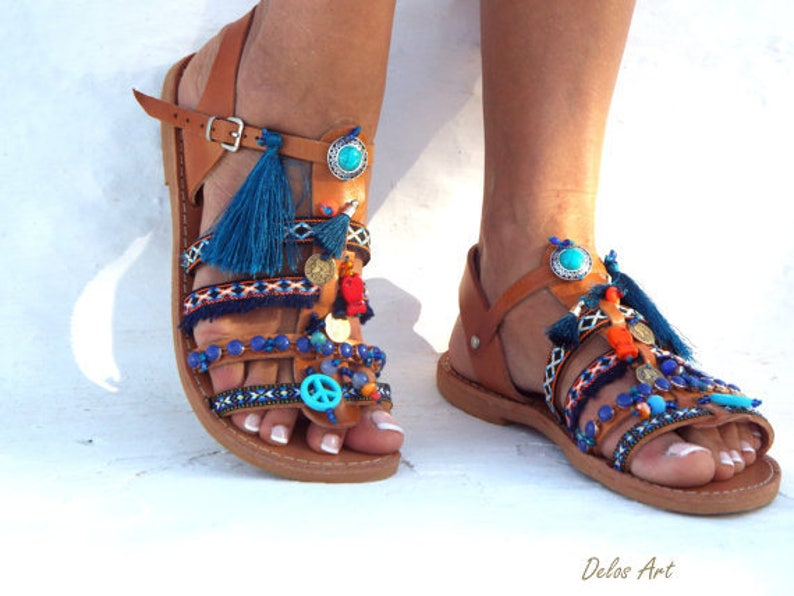 e39c0a3ca Inka Friendships Boho Sandals Pom Pom Summer Shoes By Delosart ...