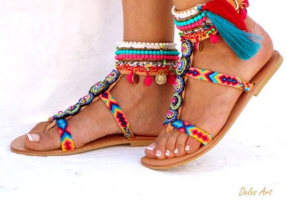 3069240866ef Inka Friendships Boho Sandals Pom Pom Summer Shoes By Delosart ...