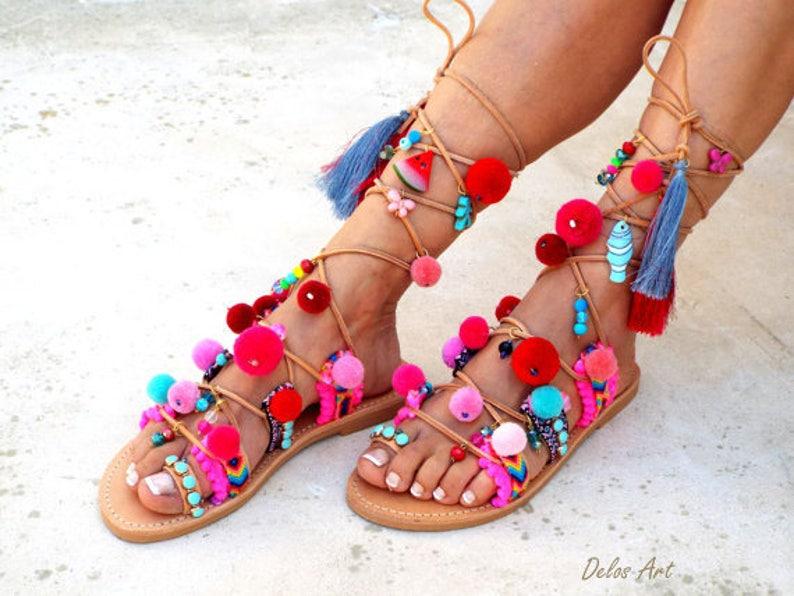 b28f2b611483 POM POM Sandals Pom Pom Leather Sandals Gladiator sandals