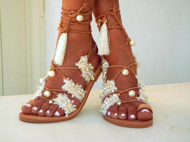 87106e26bf07 Wedding Bridal sandals Pearls White Beach Wedding Sandals