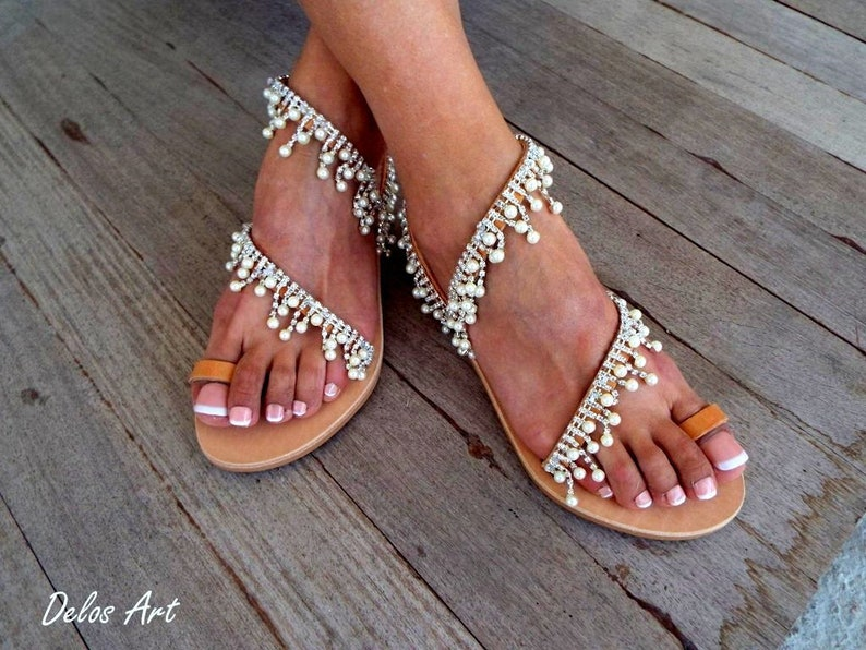 b27770537e1d Crystal   pearls Bridal sandals Leather sandals