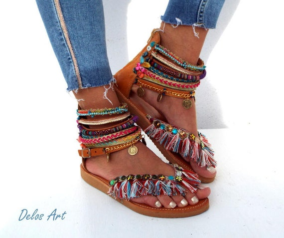 3aa0da33e1b81 Leather Sandals Appaloosa colorful summer