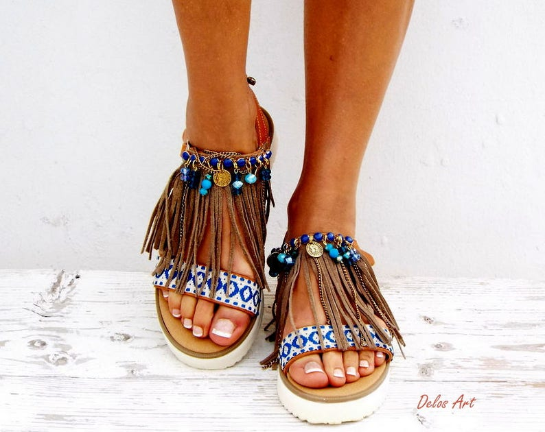 e0474af097546 Boho Fringe Sandals Handmade Sandals Greek Sandals
