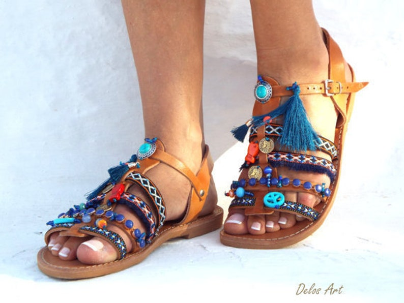 16282108166ad Blue Sea Friendships Boho Sandals summer shoes Handmade