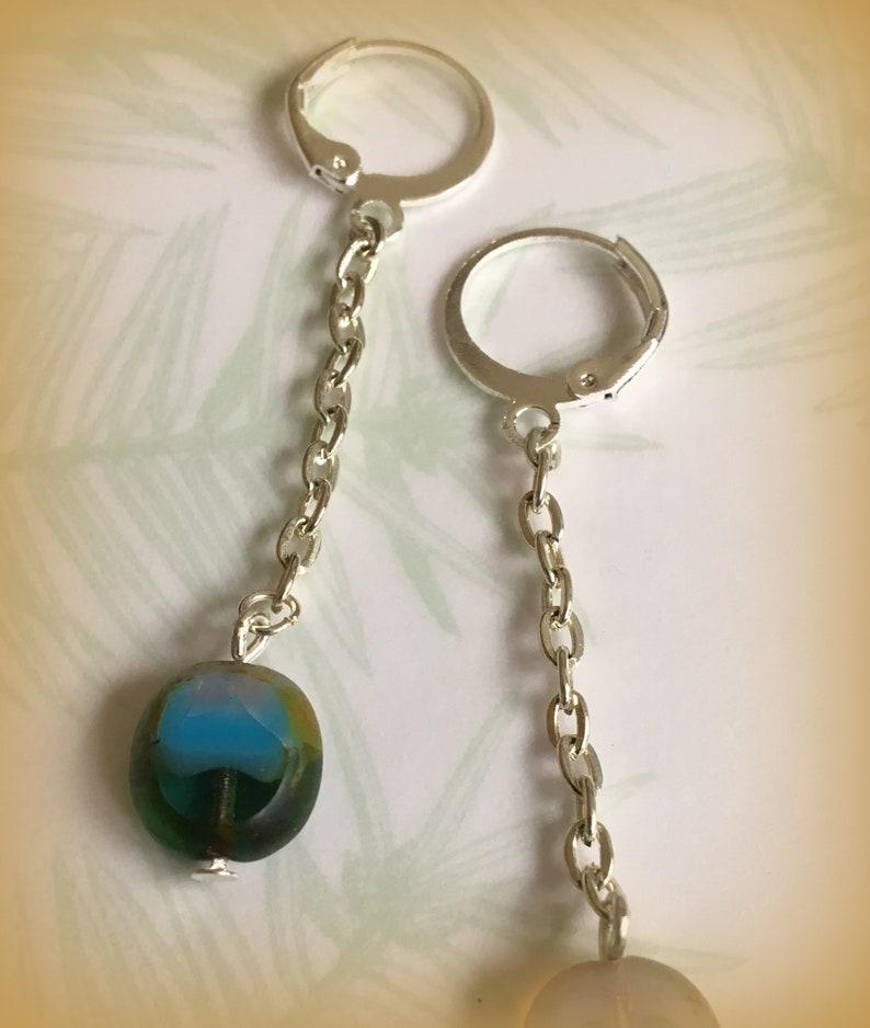 Czech Glass silver chain earrings