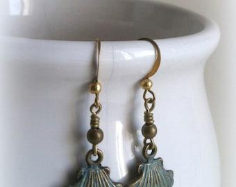 Rustic bronze patina clam shell earrings