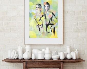 Fashion duo, fine-arts print with Passepartout