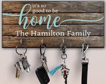 Personalized Key Ring Holder, Family Key Holder, Home Key Rack, Couples Key Hanger, Housewarming Gift, Wall Mount Key Holder, Custom Key