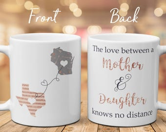 Long Distance Mug For Mother, The Love Between A Mother And Daughter Knows No Distance, Moving Mug For Daughter, Christmas Gift For Mom