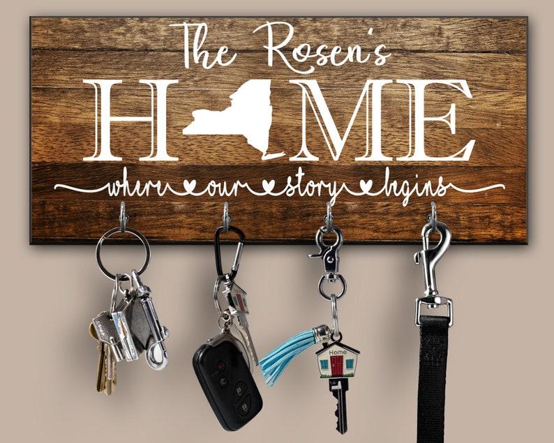 Personalized Key Ring Holder, Where Our Story Begins Family Key Holder,  Home Sweet Home Key Rack, Custom State Key Hanger, Housewarming Gift
