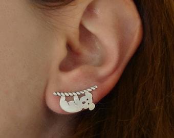 Koala earrings, Ear climber earrings, Ear crawler, Ear cuff silver, Sterling silver earrings, Animal earrings, Koala jewelry, Valentine Gift