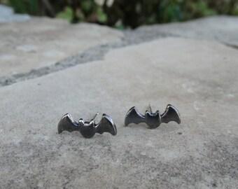Silver bat earrings, Silver bat studs, Batman earrings, Sterling silver stud earrings, Tiny earrings Girl earrings Cute jewel Valentine Gift