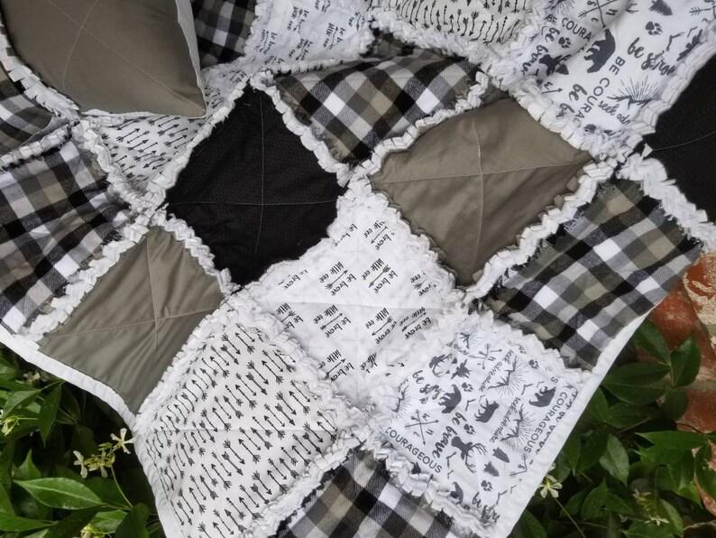 Bear Cub theme Quilt Plaid Rag Quilt Baby Rag Quilt Baby Boy Rag Quilt Woodland Quilt Bear Rag Quilt, Woodland Nursery Bedding
