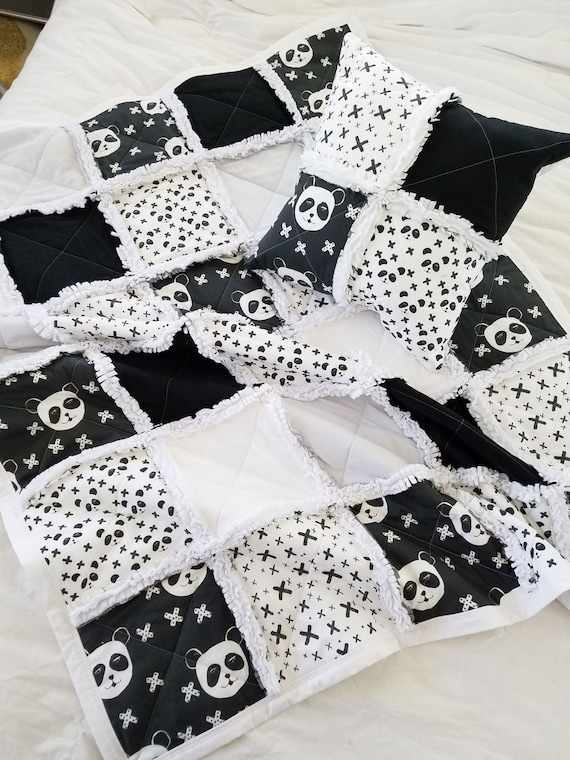 Panda Bear Quilt Black And White Monochrome Baby Bedding