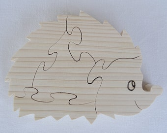 """wooden puzzle """"hedgehog"""" in natural pine cut on scroll saw"""