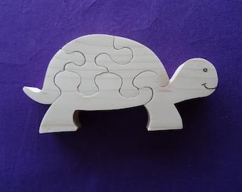 """Tortuga"" de madera de abeto natural corte jig saw puzzle"