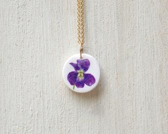 Violet necklace, violet pendant, purple necklace, wildflower necklace, flower necklace, floral necklace, dainty necklace, tiny necklace