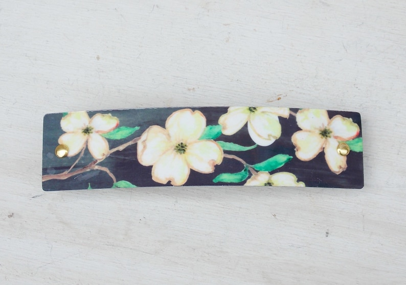 French barrette nature jewelry dogwood hair clip thick hair for women Dogwood barrette thin hair dogwood flowers botanical gift