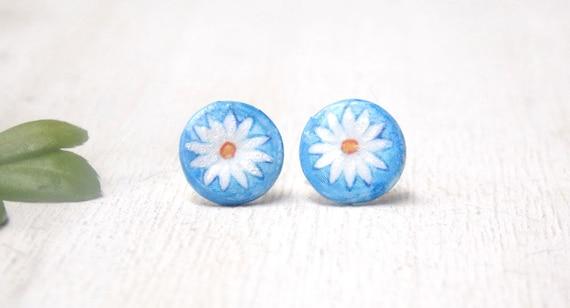 018473bea Daisy earrings daisy stud earrings polymer clay earrings | Etsy