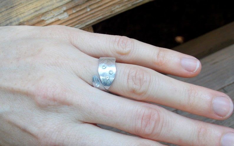 silver leaf ring cz ring adjustable ring gemstone ring multistone ring Leaf ring silver ring aluminum leaf ring silver nature ring