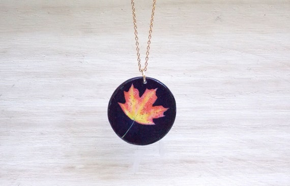 Maple Leaf Necklace Orange Maple Leaf Charm Necklace Maple Leaf Pendant Necklace Autumn Jewelry Autumn Necklace Customized Personalized Gift