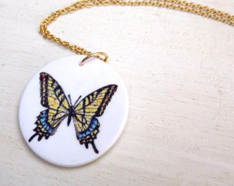 Butterfly necklace, butterfly pendant, butterfly charm necklace, swallowtail butterfly, nature necklace, butterfly jewelry, insect jewelry