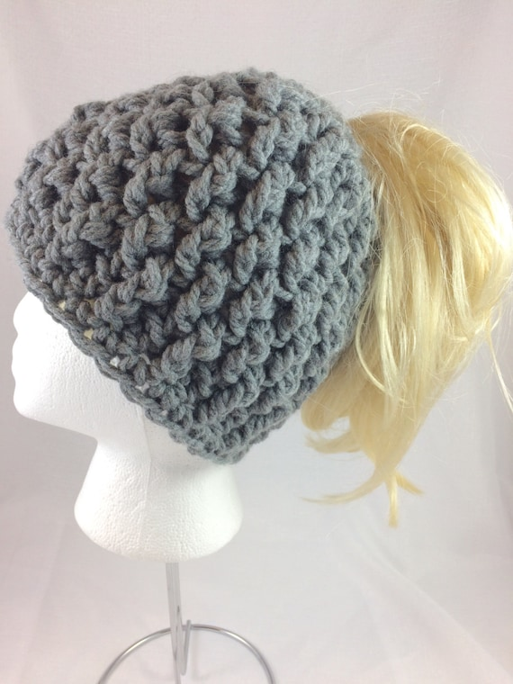 5cb1c897ccf6e Gray ponytail beanie gray messy bun hat gray messy bun