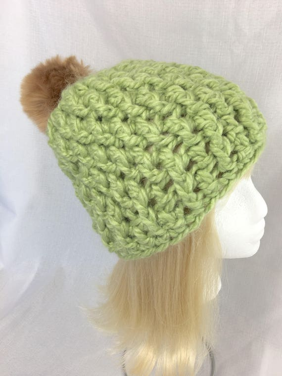 Grüne Frauen Hut Pom Pom Hut für Frauen Pom Pom Mütze | Etsy