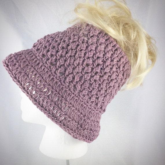 d83b3045 Summer messy bun hat rose pink bucket hat purple messy bun   Etsy