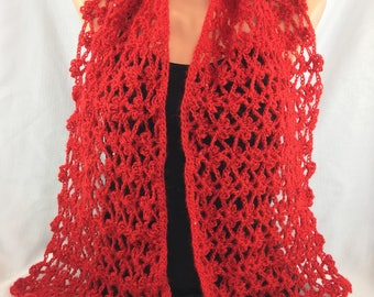 Red summer shawl, Red mohair shawl, mohair sequin shawl, crochet mohair shawl, women red shawl, crochet women shawl, red crochet shawl