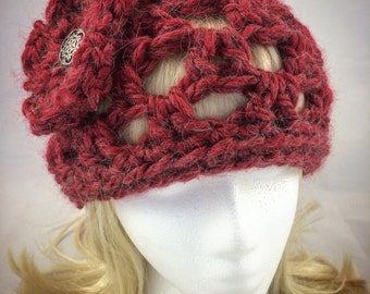 Women knit hat, Women crochet hat, red winter hat, red crochet hat, women winter hat, women red hat, red alpaca hat, red flower hat, red hat