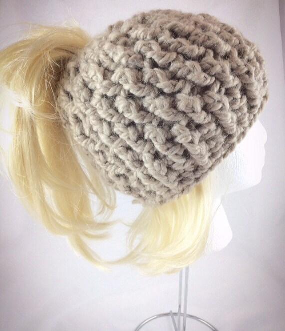 c1aa8c9a93f Brown ponytail hat messy bun hat messy bun beanie beige bun