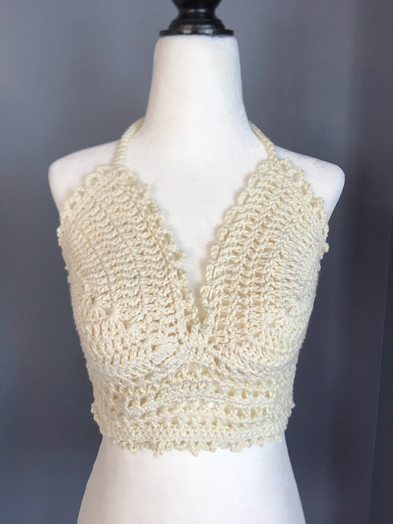 Cotton halter top Crochet halter top cotton bikini top   Etsy