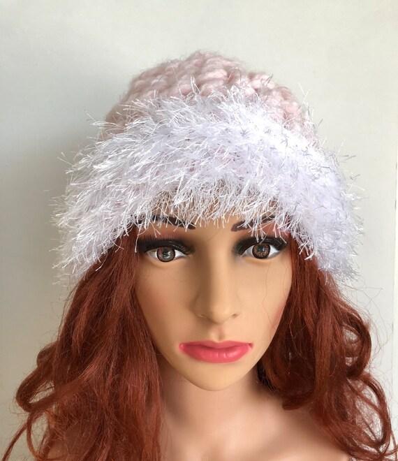 34ffe8b68d7 Women pink hat pink winter hat faux fur trim hat crochet