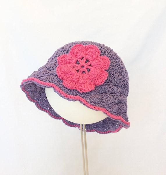 Crochet baby sunhat cotton sun hat girl sun hat purple  6180f5f07a0