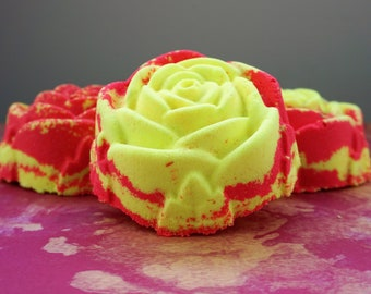 1 Rosewater Lemonade Bath Bomb, Red Bath Bombs, Bathbombs, Rose Scented Gifts, Gifts for Her, Handmade Bath Fizzy, Skincare, Bath Art, Spa