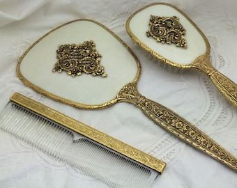 Vanity Dresser Set, Mirror Brush and Comb