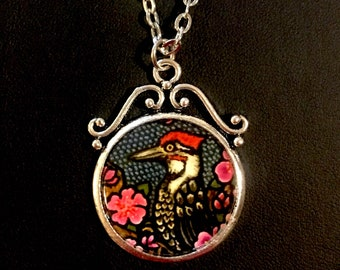 Woodpecker Image On Silver Plated Pendant Necklace and Earring Set