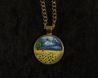Sunflower Goldtone Pendant Necklace